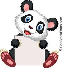 Lindos dibujos de panda sosteniendo en blanco