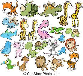 Lindos elementos de diseño de vector animal