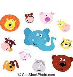 Lindos iconos de cabeza de animal sonriente