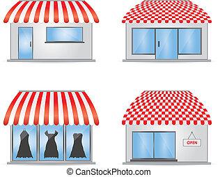 Lindos iconos de tiendas con toldos rojos