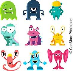 Lindos monstruos de dibujos animados, ilustración vectorial de personajes graciosos