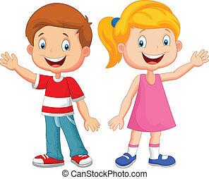 Lindos niños agitando la mano