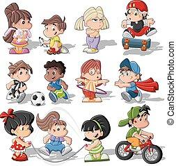 Lindos niños de dibujos animados jugando