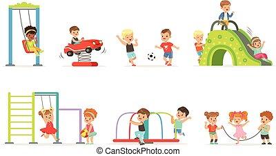 Lindos niños de dibujos animados jugando y divirtiéndose en el juego de juegos de juegos de vectores de ilustraciones