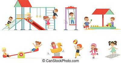 Lindos niños de dibujos animados jugando y pasándoselo bien en el patio de juegos, niños jugando al aire libre con ilustraciones vectoriales