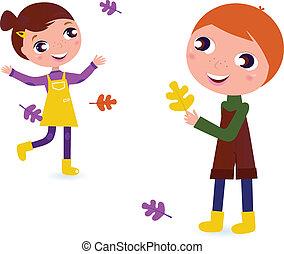 Lindos niños de otoño aislados en blanco