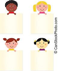 Lindos niños multiculturales con estandarte en blanco