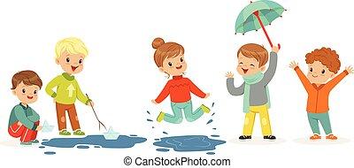 Lindos niños sonrientes jugando en charcos, listos para diseño de etiquetas. Ocio activo para niños. Dibujos detallados ilustraciones coloridas