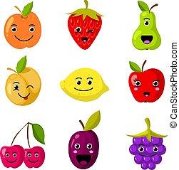 Lindos niños vector de fruta con caras sonrientes graciosas