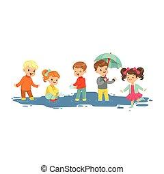 Lindos niños y niñas sonrientes saltando y chapoteando a través de los charcos, niños jugando en el vector de Ilustración de la lluvia de dibujos animados