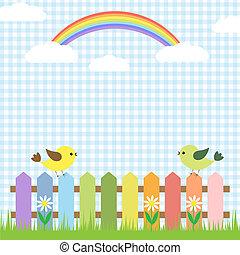 Lindos pájaros y arco iris