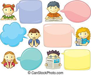 Lindos personajes con burbujas de habla
