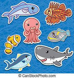 Lindos stickers de animales marinos