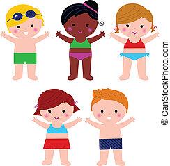 Lindos Summer Kids en traje de baño aislados en blanco