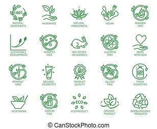 lineal, eco, amistoso, conjunto, iconos, insignias, o, productos