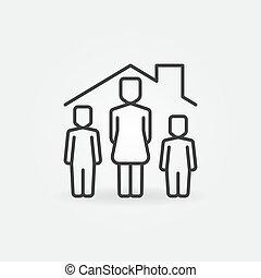 lineal, icono, mujer, debajo, vector, casa, techo, childs, dos