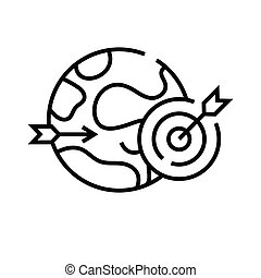 lineal, señal, contorno, línea, global, icono, meta, ilustración, símbolo., vector, concepto