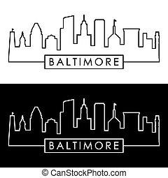 lineal, style., baltimore, skyline.