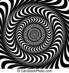 lines., plano de fondo, negro, vector., remolino, blanco, ilusión, óptico