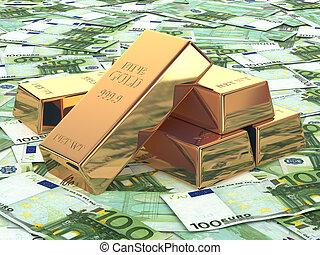 lingotes de oro en el fondo de Euro Banknotes.