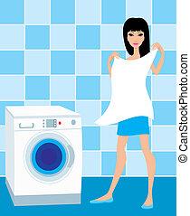 lino, mujer, lavado, asideros, joven