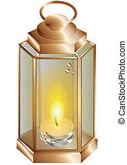 Linterna con una vela