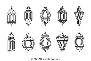 linterna, islámico, símbolo, árabe, colección, conjunto, línea, aislado, icono