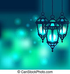 Linterna Ramadán brillante fondo