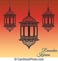 Linterna Ramadan kareem tarjeta en negro. Ilustración de vectores