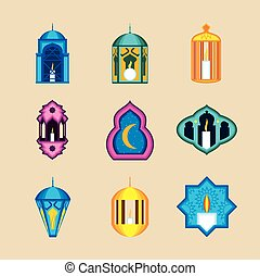 linternas, árabe, conjunto