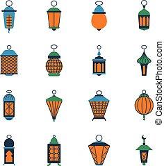 Linternas islámicas ramadas antiguas, lámparas árabes vector fijado