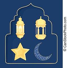 linternas, islámico, luna