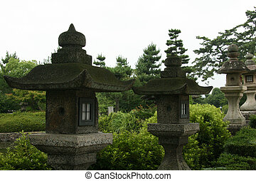 Linternas, templo horyuji, Japón