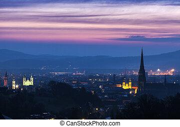 Linz panorama al amanecer