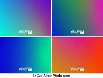 liso, colorido, vector., set., fondos, gradiente