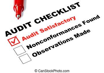 lista de verificación, auditoría