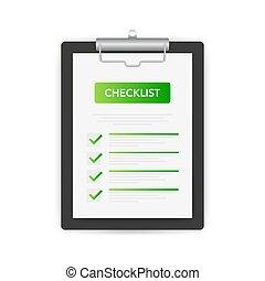lista, illustration., aprobar, vector, tableta, fondo., cheque, blanco, signo.