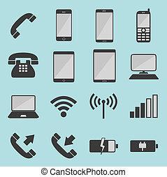 lista, telecomunicación, iconos