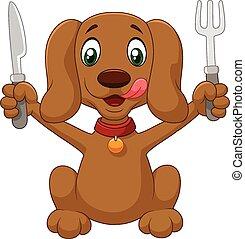listo, caricatura, perro, hambriento, comer