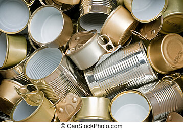 listo, estaño, reciclaje, latas