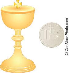 liturgical, dorado, oblea, cáliz