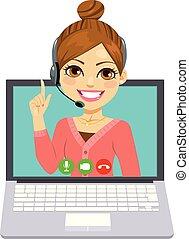 Llama a la mujer del centro en línea