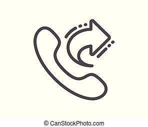 Llama al icono de la línea de servicio central. Comparte la señal de llamada. Vector