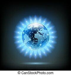 Llama azul redondo de butano con Planeta Tierra dentro. Producto de gas