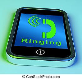 Llamando a un icono en un teléfono móvil mostrando una llamada de teléfono inteligente