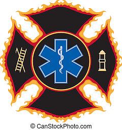 Llamando símbolo de rescate de incendios