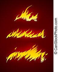 Llamas ardientes del vector de fuego silueta