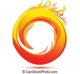 Llamas y fuego logo abstracto