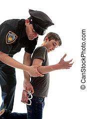 llamativo, adolescente, criminal, policía