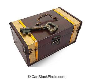 Llave de oro en el cofre del tesoro